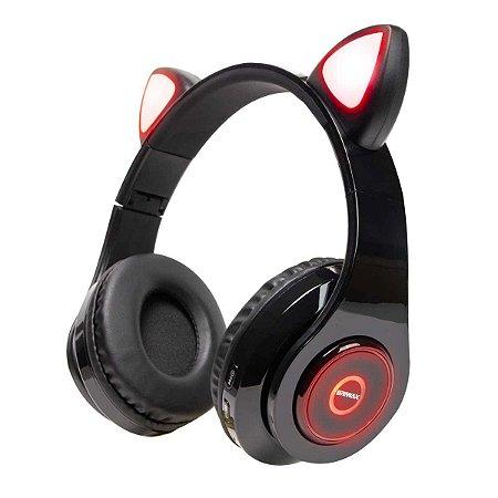 Fone Sem Fio Orelhas de Gato Headphone LED Briwax MX-6810