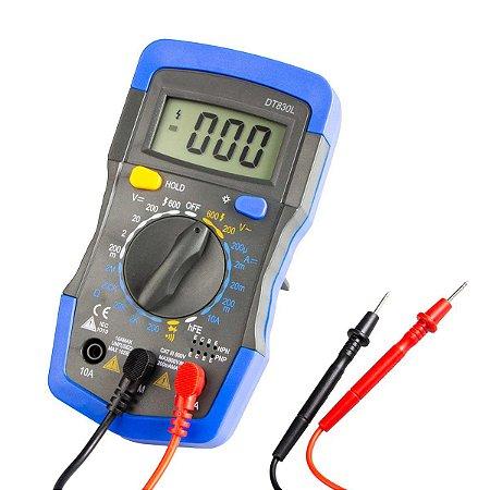 Multímetro Digital Alta Precisão com LCD Iluminado DT830L - Azul