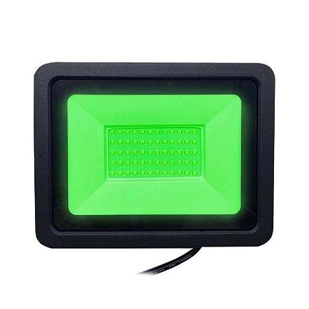 Refletor Led Verde 100w Slim SMD  - Estilo e Cromoterapia