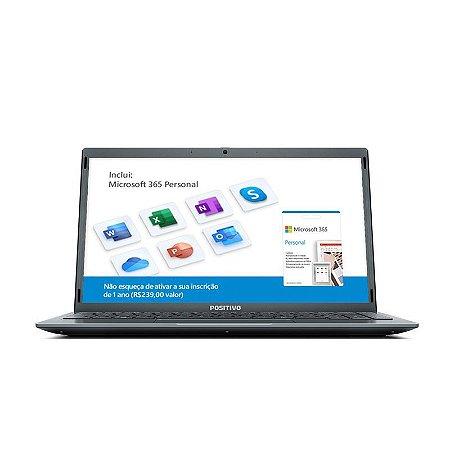"Notebook Positivo Motion Gray 4GB Ram 1TB Tela HD 14"" Dual-Core"