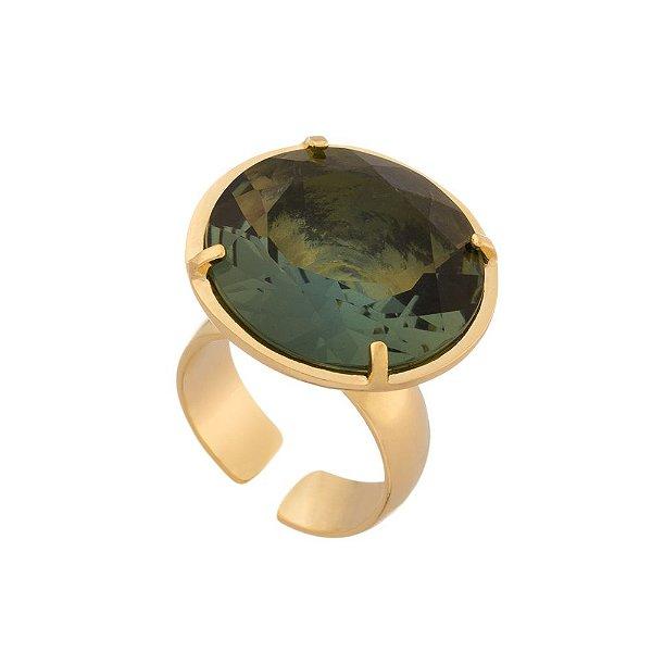 Anel Burlesque 318 Ouro Cristal Verde