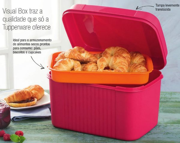 Tupperware Visual Box com Bandeja 4,5 litros Rosa