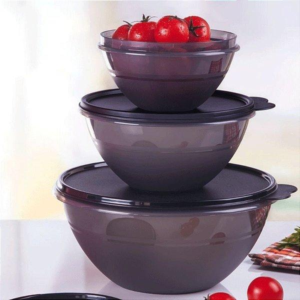 Tupperware Tigela Maravilhosa Preta kit 3 Peças
