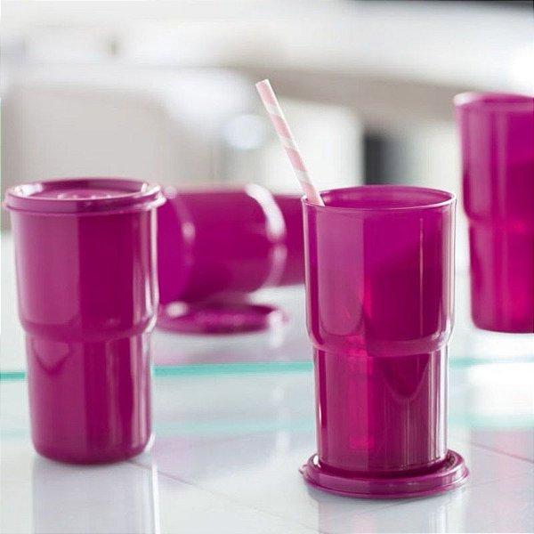 Tupperware Copo Colors 350ml Ameixa kit 4 Peças
