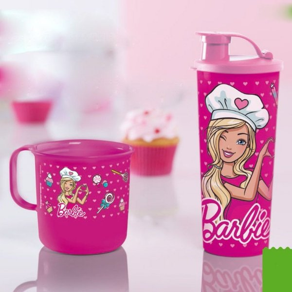 Tupperware Copo + Caneca Barbie Rosa Kit 2 Peças
