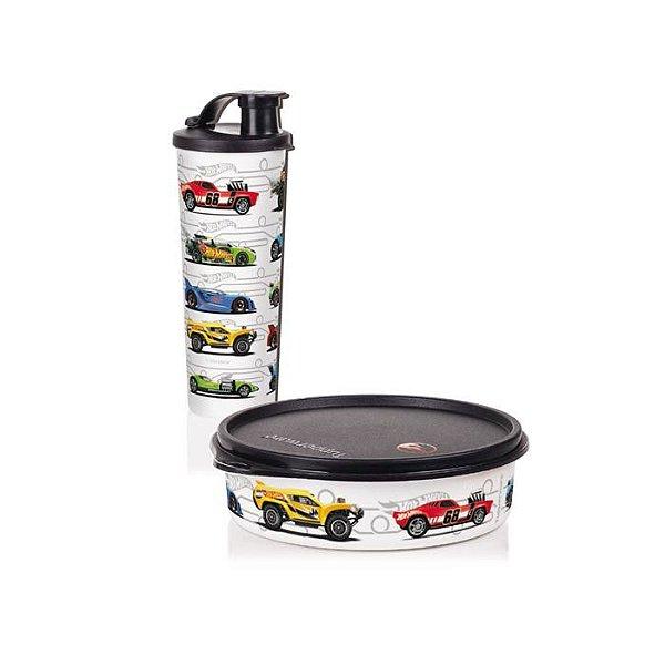 Tupperware Copo com Bico + Pratinho Hot Wheels kit 2 Peças