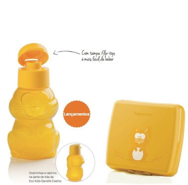 Tupperware Eco Kids Coelho + Porta Sanduíche kit 2 Peças Amarelo