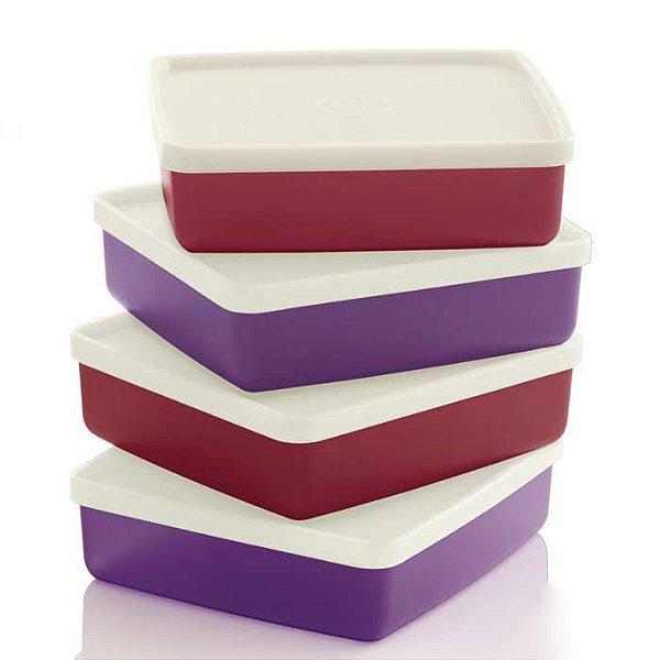 Tupperware Refri Box 400ml kit 4 peças Púrpura e Marsala