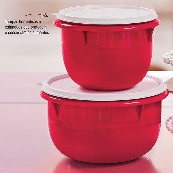 Tupperware Kit Tigela Batedeira Média 2L e Pequena 1L Vermelha 2 Peças