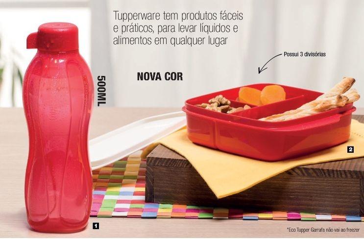 Tupperware Kit Basic Line com divisórias 550 ml + Eco Tupper  Garrafa 500 ml Vermelho