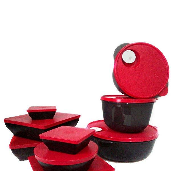 Tupperware Kit BEA Zen Line e Cristalwave Nível 3 Preto e Vermelho 9 Peças