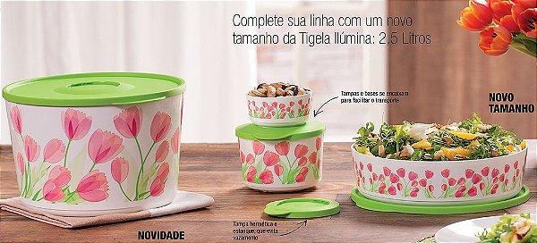 Kit Tupperware Tigela Ilúmina Tulipas 4 peças Branco Rosa e Verde
