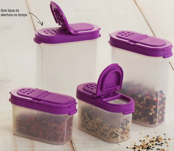 Tupperware Kit Porta Temperos Grande Pequeno 4 peças Roxo