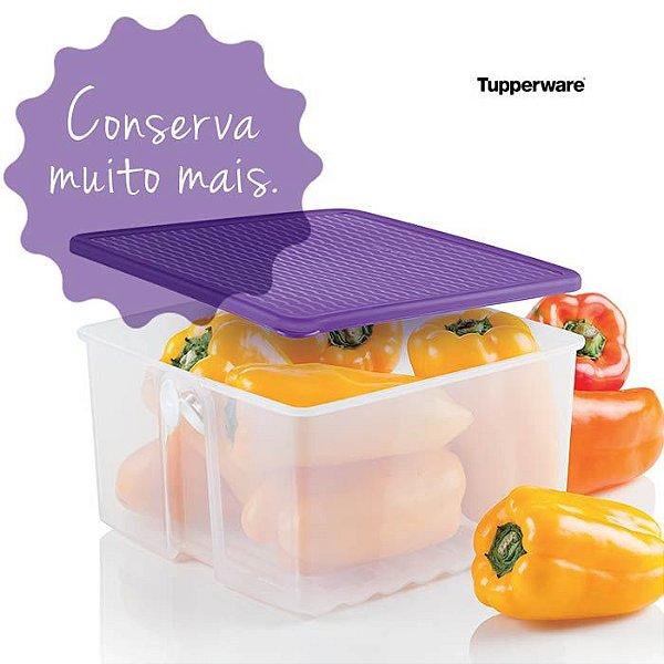 Tupperware Fresh Smart Quadrado 1 litro Transparente tampa Roxa