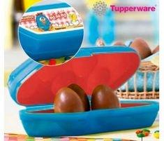 Tupperware Kit Porta Ovos Redondinhas Galinha Pintadinha 3 peças Azul