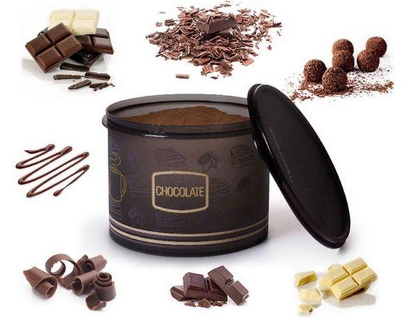 Tupperware Caixa Chocolate em Pó Linha Colorida 1kg Preto