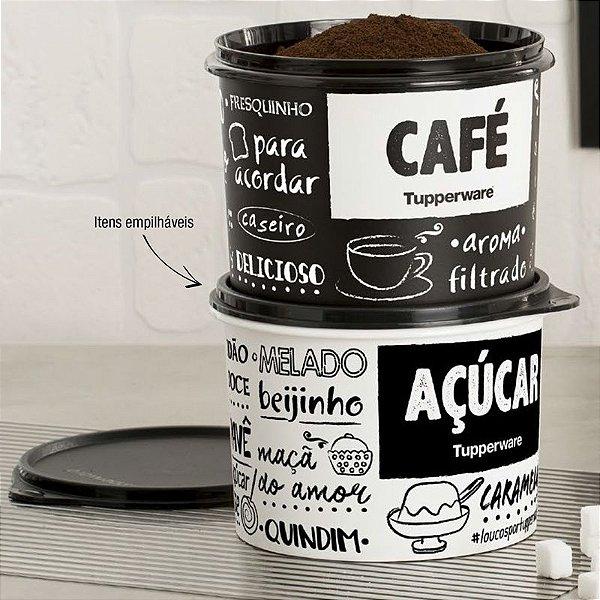 Tupperware Caixa Café e Açúcar PB Fun Preto e Branco Kit 2 peças