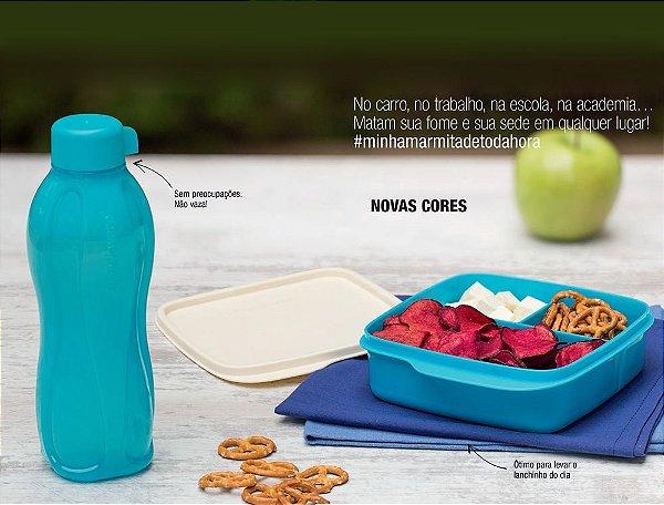 Tupperware Kit Eco Tupper Garrafa 500ml + Basic Line com Divisórias 550ml Azul 2 peças