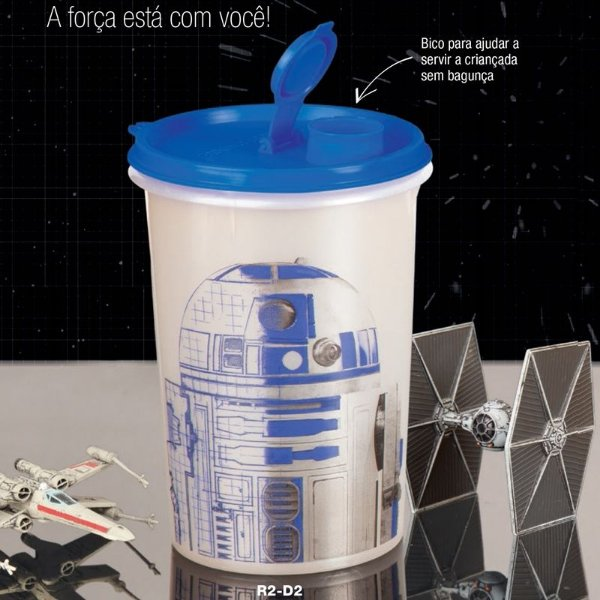 Tupperware Guarda Suco R2-D2 Star Wars 1 litro Branco e Azul