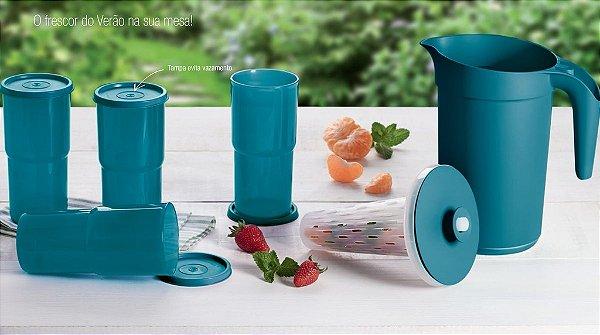 Tupperware A Jarra Colors + Copos Azul Turquesa Kit 5 peças