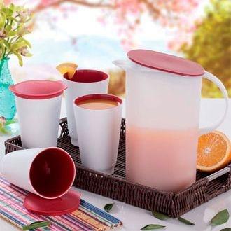 Tupperware Jarra Allegra 1,7 litro + 4 Copos Allegra 450ml cada Kit 5 peças Branco e Vermelho Importado