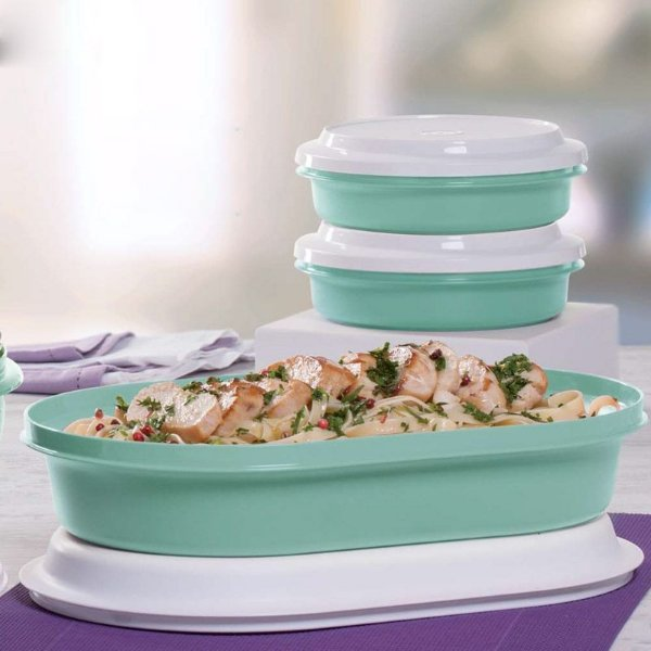 Tupperware Kit Travessa + Tigelas Actualité Verde Mint 3 Peças