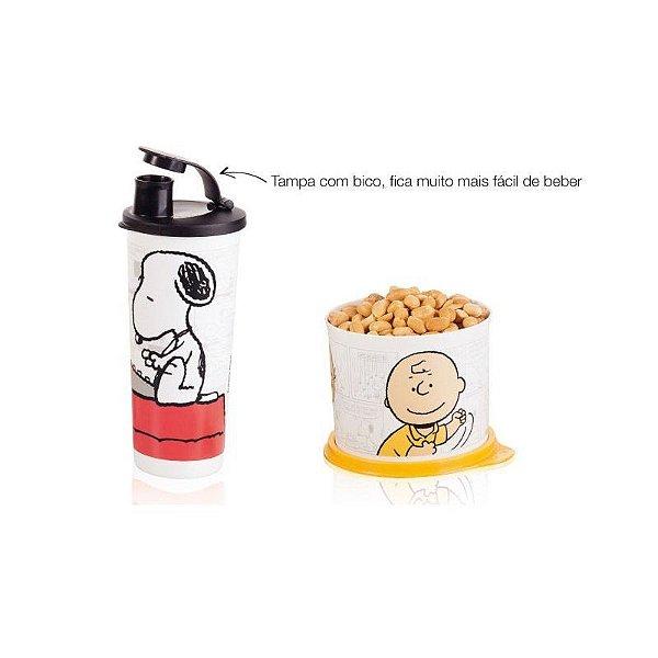 Tupperware Kit Snoopy Par Perfeito Copo + Redondinha Charlie Brown 2 peças