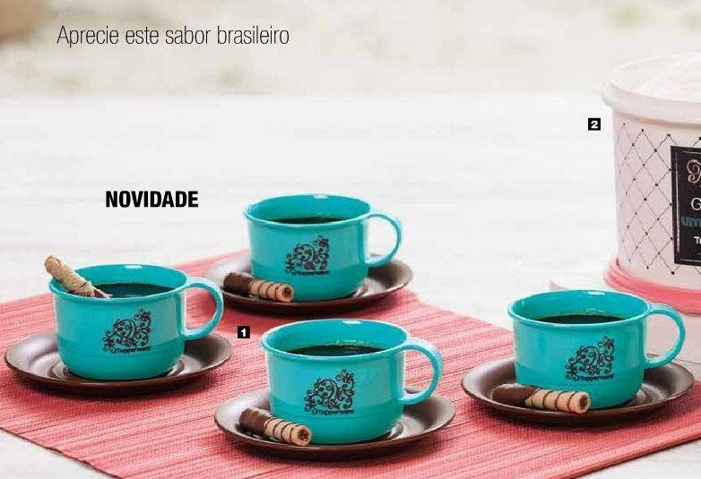 Tupperware Xícaras com Pires 150 ml Verde Kit 4 Peças