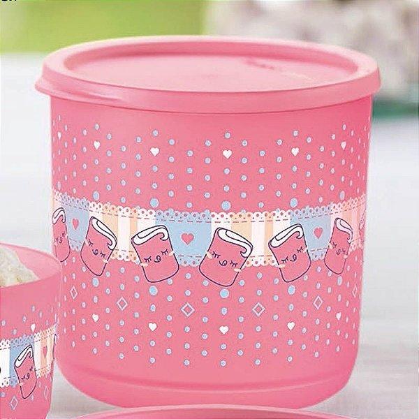 Tupperware Refri Line Docinho 1,1 litro Rosa Estampado