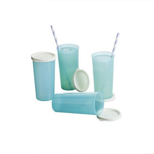 Tupperware Jogo de Copos 265ml Azul Claro kit 4 peças