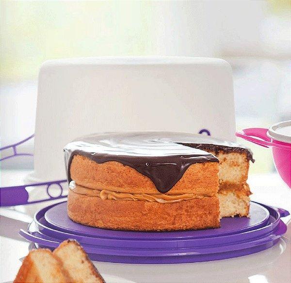 Tupperware Big Cake Redondo Branco com base Roxa - Porta Bolo