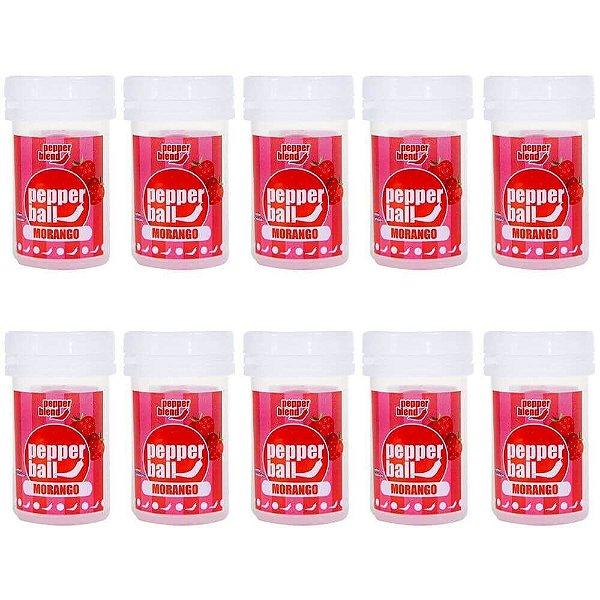 Pack 10 Pepper Ball Plus Morango Comestível Dupla Pepper Blend