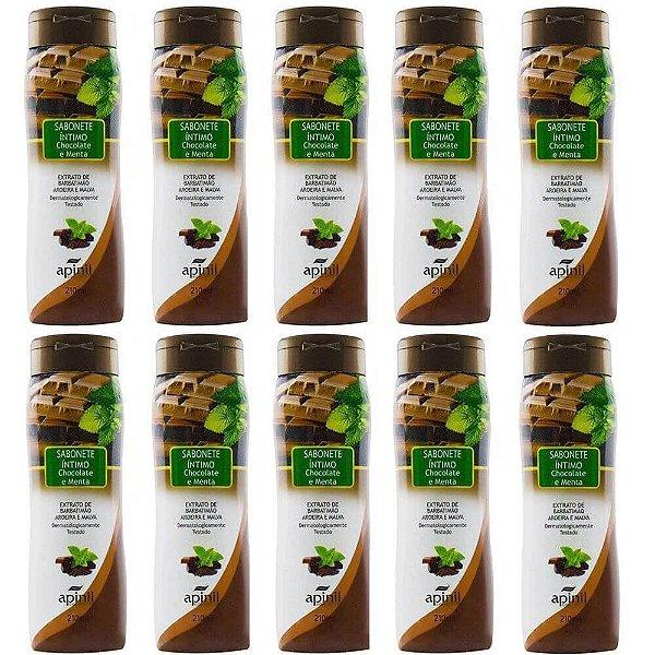 Pack 10 Sabonetes Líquido Chocomenta 220ml Apinil