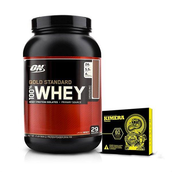 Kit Whey Protein 100% Gold Standard (909g) - Optimum + Kimera Thermo (60 Caps) - Iridium