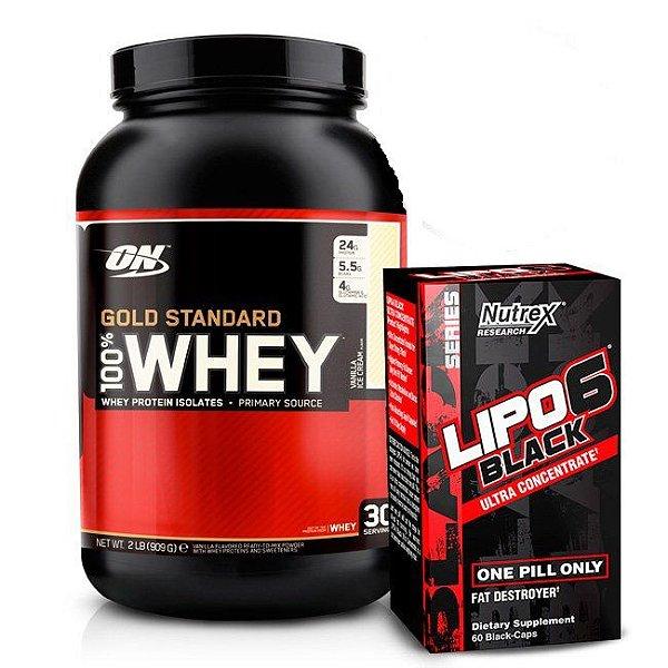Kit Whey Protein 100% Gold Standard (909g) - Optimum Nutrition + Lipo 6 Black (60 Caps) - Nutrex