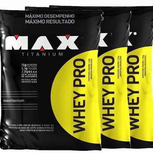 Combo 3x Whey Pro - Max Titanium - 4,5kg - Refil