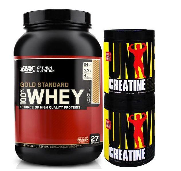 Kit Whey Protein 100% Gold Standard (909g) + 2x Creatina (200g) Universal