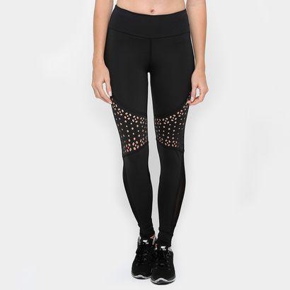 Calça Legging Recorte Laser E Tule - Colcci Fitness