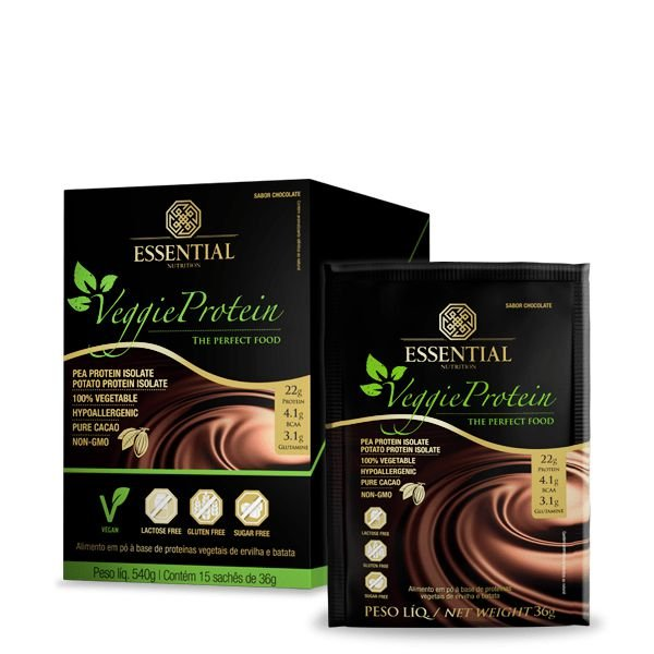 Veggie Protein - Caixa C/15 Saches de 36g - Essential Nutrition