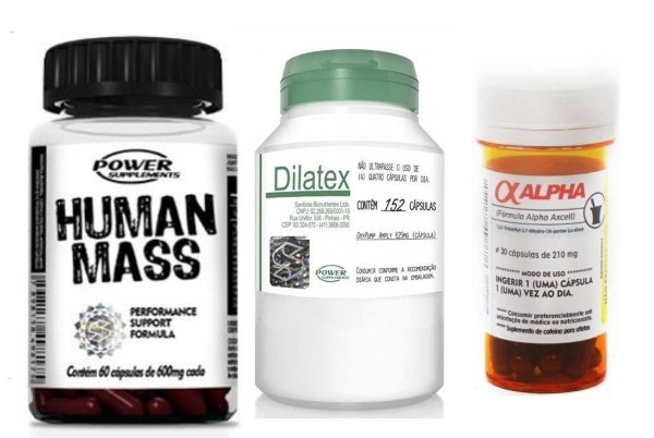 Kit Ciclo 30 Dias Human Mass + Dilatex + Alpha Axcell