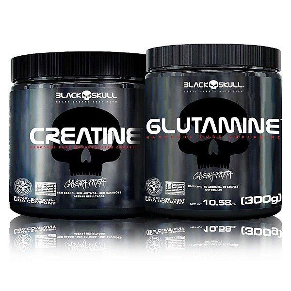 Kit Ganho de Massa Muscular Glutamina (300g) + Creatina (300g) - Black SKull