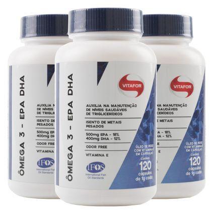 kit 3x Omega 3 epa dha (120 cápsulas) Certificado Internacional - Vitafor