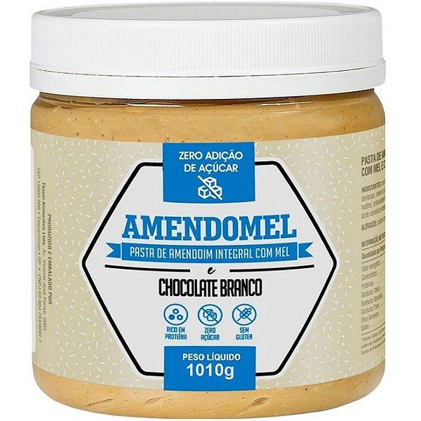 Pasta De Amendoim Integral Com C/ Mel Chocolate Branco 1kg - Amendomel
