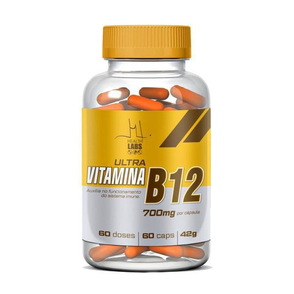 Vitamina B12 (Cianocobalamina) - 60 Cápsulas - Health Labs
