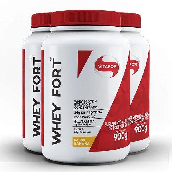 kit 3x whey fort 900g - whey protein isolado e concentrado - vitafor