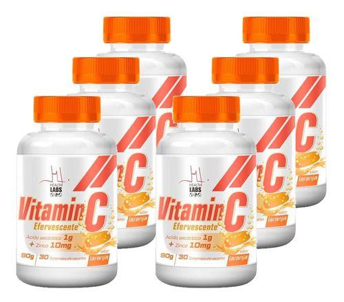 Kit 6x Vitamina C Efervescente + ZINCO 10MG - 30 Comprimidos - Health Labs