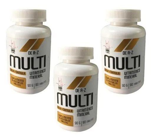 Kit 3x Multi Vitamínico A-z - 90 Tabletes cada - Health Labs