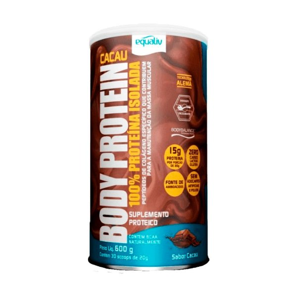 Body Protein Cacau 100% Whey Isolada 600g - Equaliv