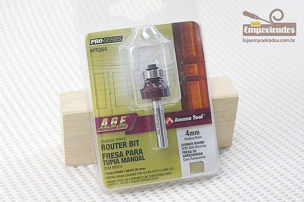 Fresa AGE™ Pro-Series Amana Tool - Arredondar com Rolamento - R-4mm [FR264]