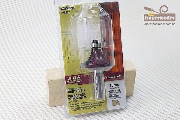 Fresa AGE™ Pro-Series Amana Tool - Arredondar com Rolamento - R-15mm [FR272]